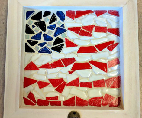 Mosaic Flag In Wood Panel
