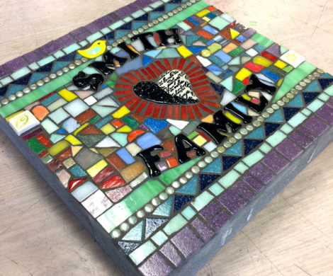 Mosaic Stepping Stone With Outdoor Letters