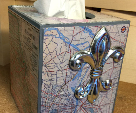 Tissue Box Collaged With St. Louis Maps