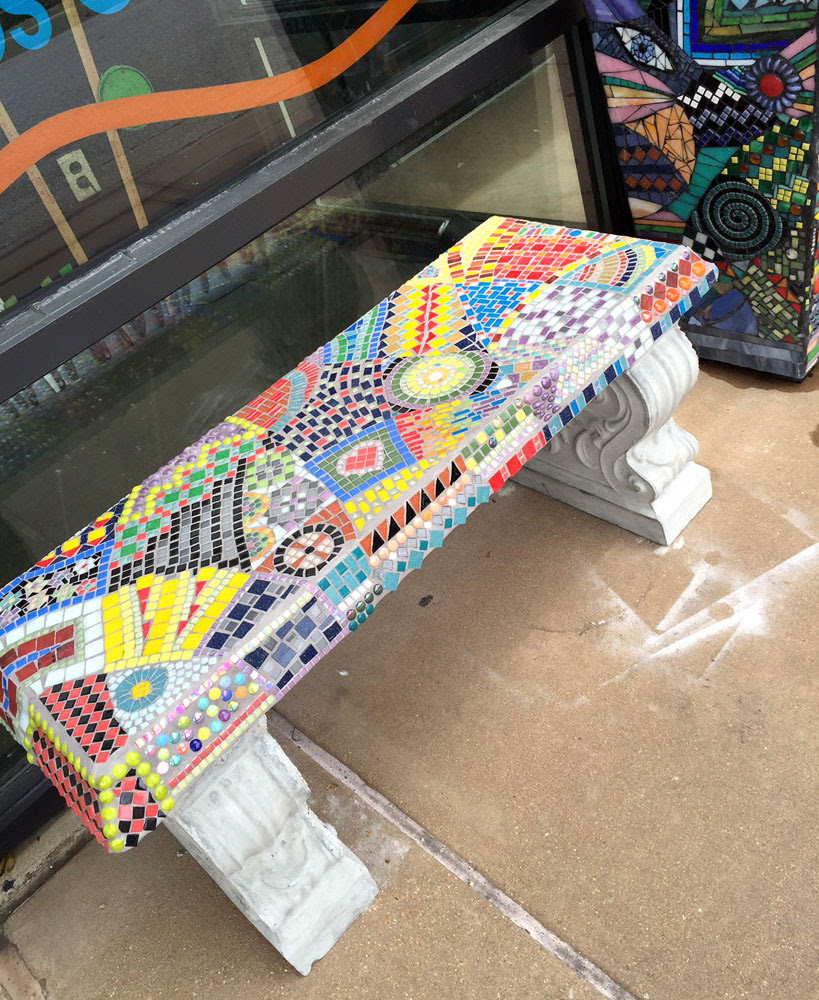 Mosaic Bench Garden Art Yucandu Art Studio