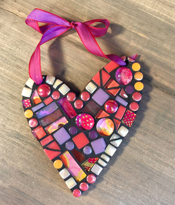 Heart Mosaic Ornament | Handmade Valentines Ideas