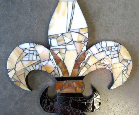 Mosaic Fleur De Lis Plaque