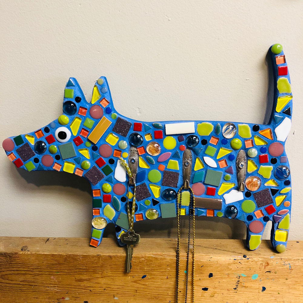 Mosaic Dog Plaque