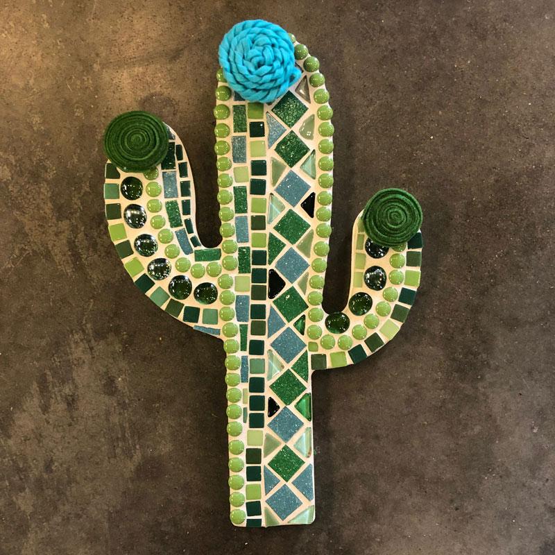 Mosaic Cactus Plaque
