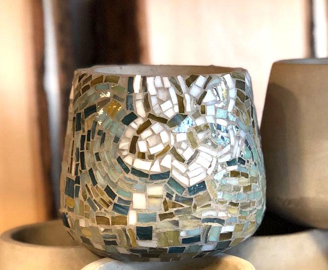 Mosaic Cement Vase